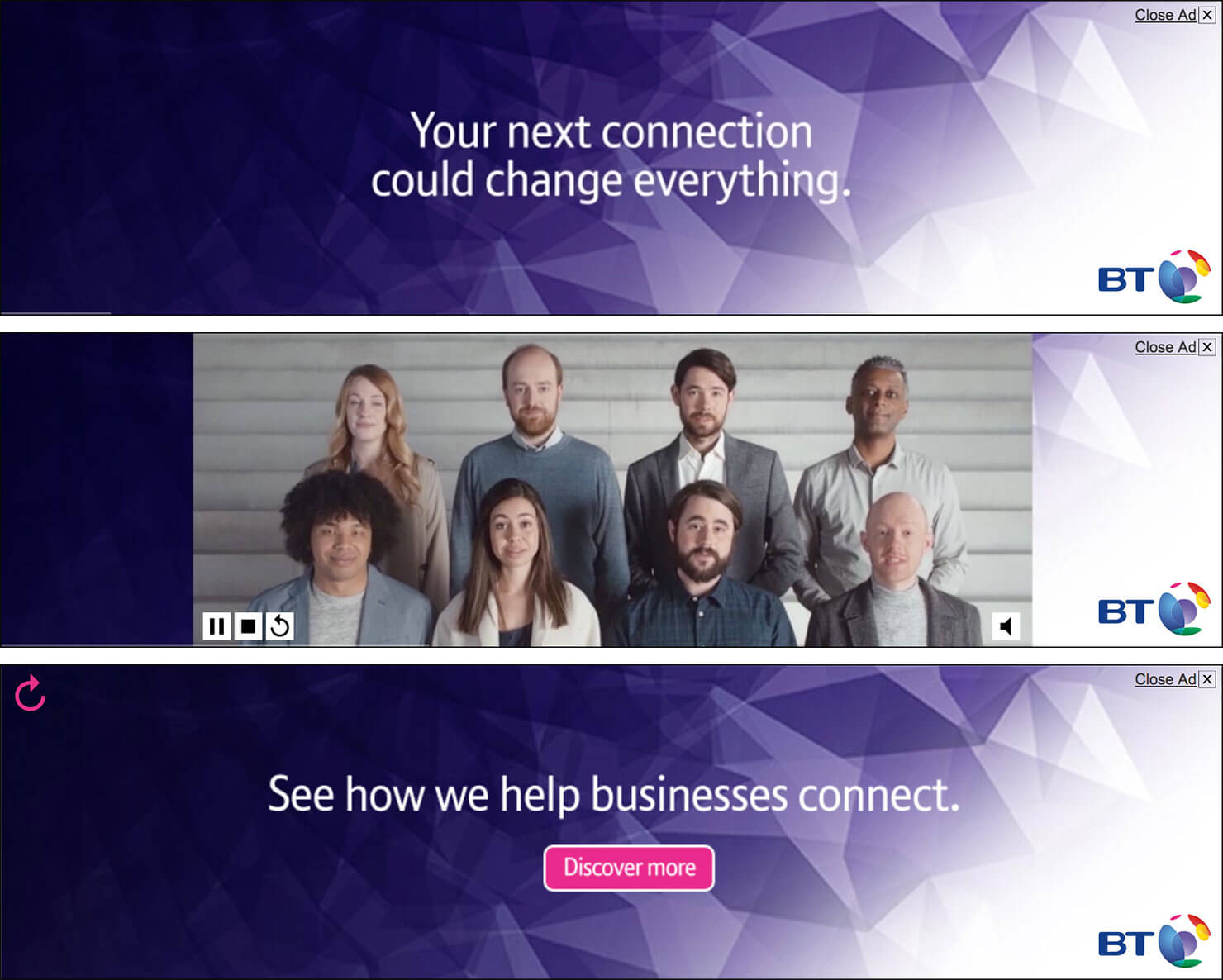 BT Business Business Connect HTML5 video banners storyboard